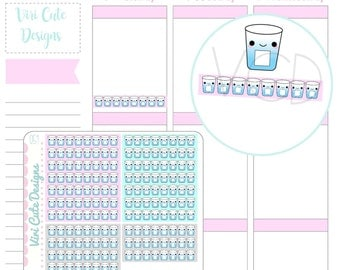 Kawaii Hydrating Planner Stickers, Water tracker stickers, daily water tracker, water stickers, ...