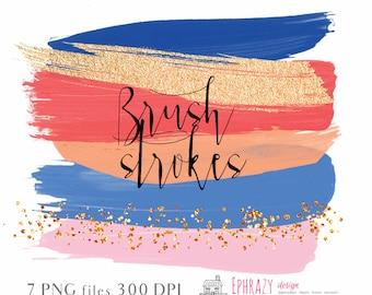 Brush strokes. Brush stroke clipart. Watercolor clipart. Brush stroke. Gold brush strokes. Watercolor strokes.