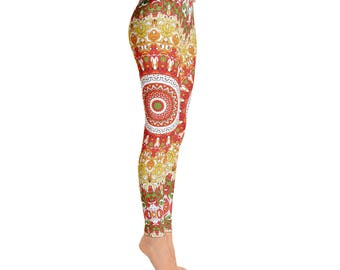 Summer Leggings - Bright Printed Womens Leggings, Wild Spring Mandala Yoga Leggings, Mandala Pants, Yoga Pants, Yoga Tights