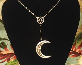 Cresent Moon Rhinestone Necklace