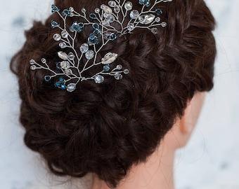 Blue Beaded Bridal Hair Pin Silver Wedding Hairpiece Prom Hairpin Navy Blue Hair Accessory Blue Crystal Hair Pin Bridesmaid Headpiece Set