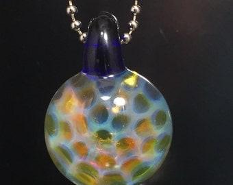 Silver Fume Honeycomb Glass Pendant - Boro Necklace