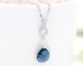 Bridal Necklace Blue Bride Necklace Wedding Jewelry  Teardrop Wedding Necklace Something Blue Navy CZ Bridesmaid Gift, Blue Bridal jewelry