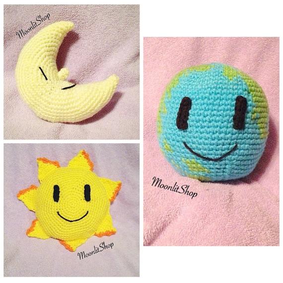 Crochet Happy Sun Earth & Crescent Moon Amigurumi Plush