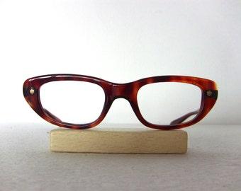 Tortoise Shell Cat Eye Glasses Frame Glossy Oval Eyeglasses Medium Sized Eyewear FREE SHIPPING Rx Indo Spain New Old Stock NOS