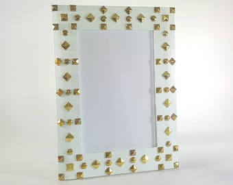 White Picture Frame - 4x6 Picture Frame - Studded Picture Frame - Wood Picture Frame - Photo Frame 4x6