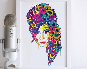 Amy Winehouse Illustrated Art Print