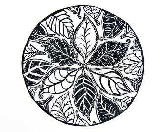CLEARANCE: Circle of Leaves (Original Linocut Print)