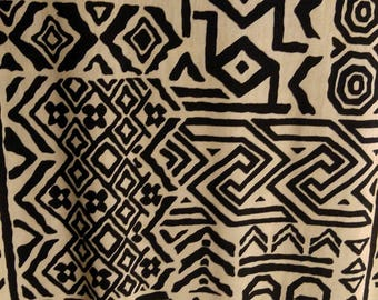 Medium Weight Casual wear Knit Fabric by the yard.  Black and Light Beige tribal.