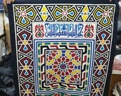 Tarek al Safty, Master Arabian Calligraphy design stitched on Canvas, Master piece by Tentmakers of Cairo!