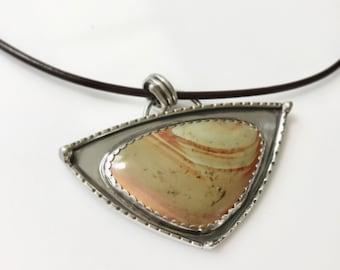Bohemian Savannah Jasper Pendant; Artisan Savannah Jasper Sterling Silver Pendant