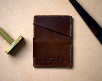 Handmade Minimalist Leather Wallet Nickelsworth Card Wallet DARK BROWN - Brown Waxed Thread