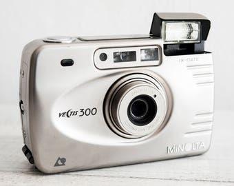 Minolta Vectis 300 - functional vintage compact analog point&shoot APS film camera, Wide zoom lens, Built-in flash, QuartzDate, Metal body