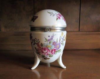Vintage Lefton Porcelain Egg Hinged Footed Trinket Box Easter 1950s