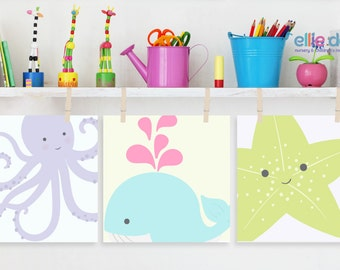 girlu0027s sea animals wall art set of 3 nursery decor kidu0027s bathroom art