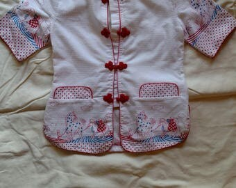 Big Crab children's Asian smock shirt