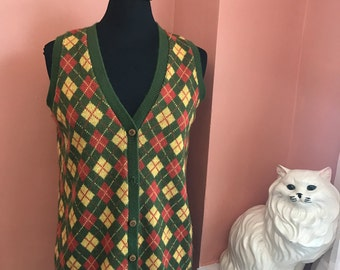 Vintage 70s, Sweater Vest, Argyle, Green, Red, Yellow, By Pandora (B507)