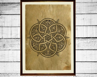 Flower of life print, sacred geometry print, celtic poster, sacred print, occult antique mystical print aged paper