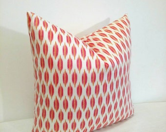 Pink pillows, pink Ikat pillow cover, Ikat pillow, Braemore pillow, pink summer pillow,  18X18 pillow cover, summer decor, modern decor pink