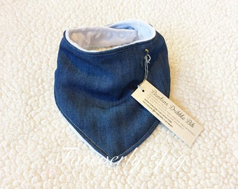 Baby Bandana Bib, Denim Gender Neutral Baby Dribble Bib, Denim Fashion Bib, Cute Bib