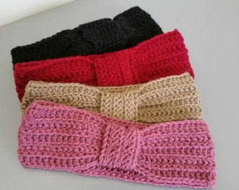 Handknit knotted crochet headband, earwarmer, bandanna,hair ties, hair ribbons or bow in pink, red, brown or black