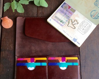 Leather travel wallet/ Passport holder/ Leather purse/ Travel wallet organizer/ Kangaroo leather/ Anniversary gift