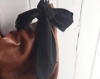 Sale! Black Skinny scarf - skinny scarf, silk scarf, hair scarf, bag accessory, gift for her, black scarf, gift under, twilly, chiffon scarf