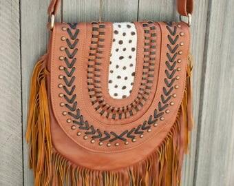 SALE**Tan Leather Bag * Leather Purse * Hippie Leather Bag * Shoulder Bag * Fringed Bag * Fringed Leather Purse * Handmade Bag * Cowhide Bag