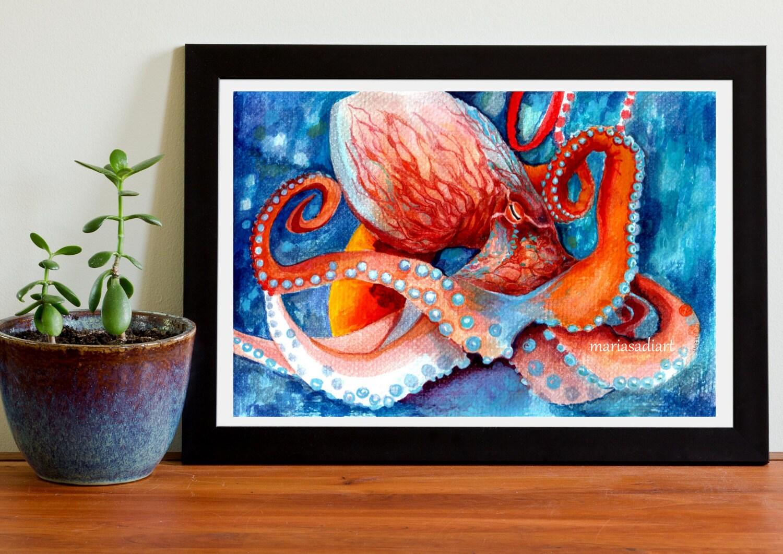octopus wall art sea home decor octopus art print watercolor. Black Bedroom Furniture Sets. Home Design Ideas
