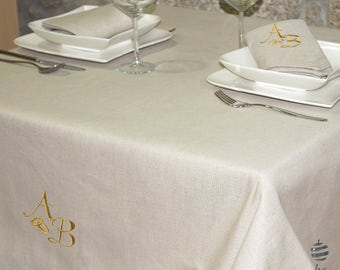 Luxury Wedding & Weddings Anniversary Gold Personalized Monogram Linen Tablecloth