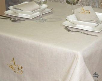 Luxury Wedding & Weddings Anniversary Gold Personalized Monogram Linen Tablecloth