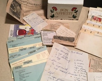Vintage Metal Floral Recipe Box, With Many Handwritten Recipes and  Newspaper Clippings, Bon Appetit!