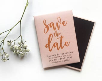 Wedding Save the Date Magnet - Rose Gold Brush Script