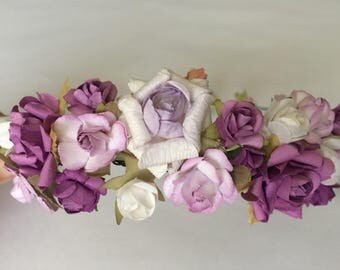 Flower crown, wedding rose crown, purple rose tiara, flower girl crown, toddler flower headband, lilac roses