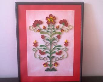 Handmade Quilled picture art/Quilling art in frame/Red quilling flowers/Quilled painting/Quilling Decor