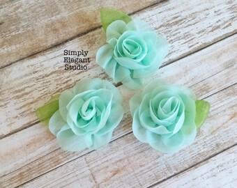 Aqua- Sets of 3 Chiffon Flowers with Leaf, Headband Flowers, DIY Craft Flower Supply, Wholesale Flowers