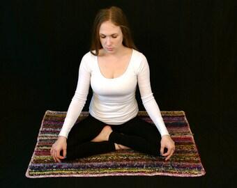 Knit Meditation Mat, Zen Mat, Peace Rug, Meditation Rug, Rug, Mat, Meditation, Crochet Meditation Mat, Crochet Meditation Rug, Prayer Mat