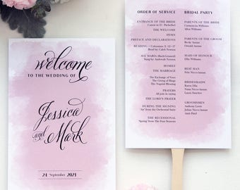 WEDDING PROGRAM FAN, Watercolours, Printable Wedding Programs, Elegant and Classy Programs by Paradise Invitations, Pink, Maroon, Mauve