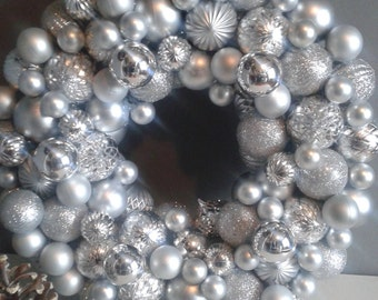 Silver Ornament Wreath, Shatter Proof, Christmas Wreaths, Holiday Wreaths, Silver, Wreaths, Ornament Wreaths