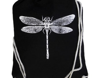 "Gym bags ""Dragonfly"", white on black, screen printing, dragonfly"