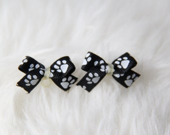 Set of 2 Black and White Paw Print Dog Hair Bow
