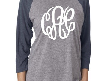 Monogram Raglan, Monogram Baseball Tee, Monogram Shirt, Ladies Monogram, Womens Monogram, Ladies Raglan, Womens Raglan