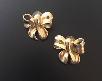 Vintage Gold Tone Bow Earrings