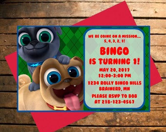 Downloadable Puppy Dog Pals Birthday Invitation