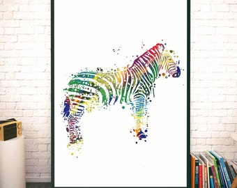 Safari Animals Watercolor. Zebra Art. Zebra Watercolor Print. Beautiful decor for all. Animal Poster. Animals Watercolor Art. Safari Art