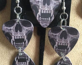 Skull Guitar Pick Earrings and Necklace Charm