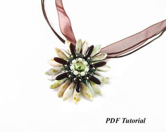 "Pendant Pattern, Tutorial, Beadweaving Pattern, Jewelry Tutorial, PDF,  ""Fiore"" Pendant, Instant Download"
