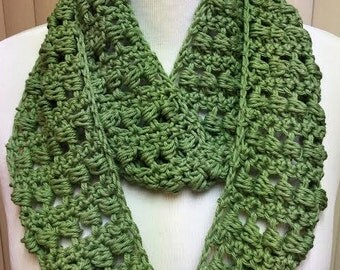 Sage Green Scarf, Crochet Scarf, Green Scarf, Summer Scarf, Cotton Scarf, Lightweight Scarf, Crocheted Scarf, Gifts for Her, Spring Scarf