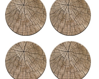A pack of 4 wood tree stump design Pattern weights Ideal for weighing down patterns on delicate fabrics no need for pins