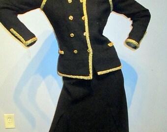 vintage 80s ADOLFO black and gold wool knit skirt suit,couture quality sz s/med